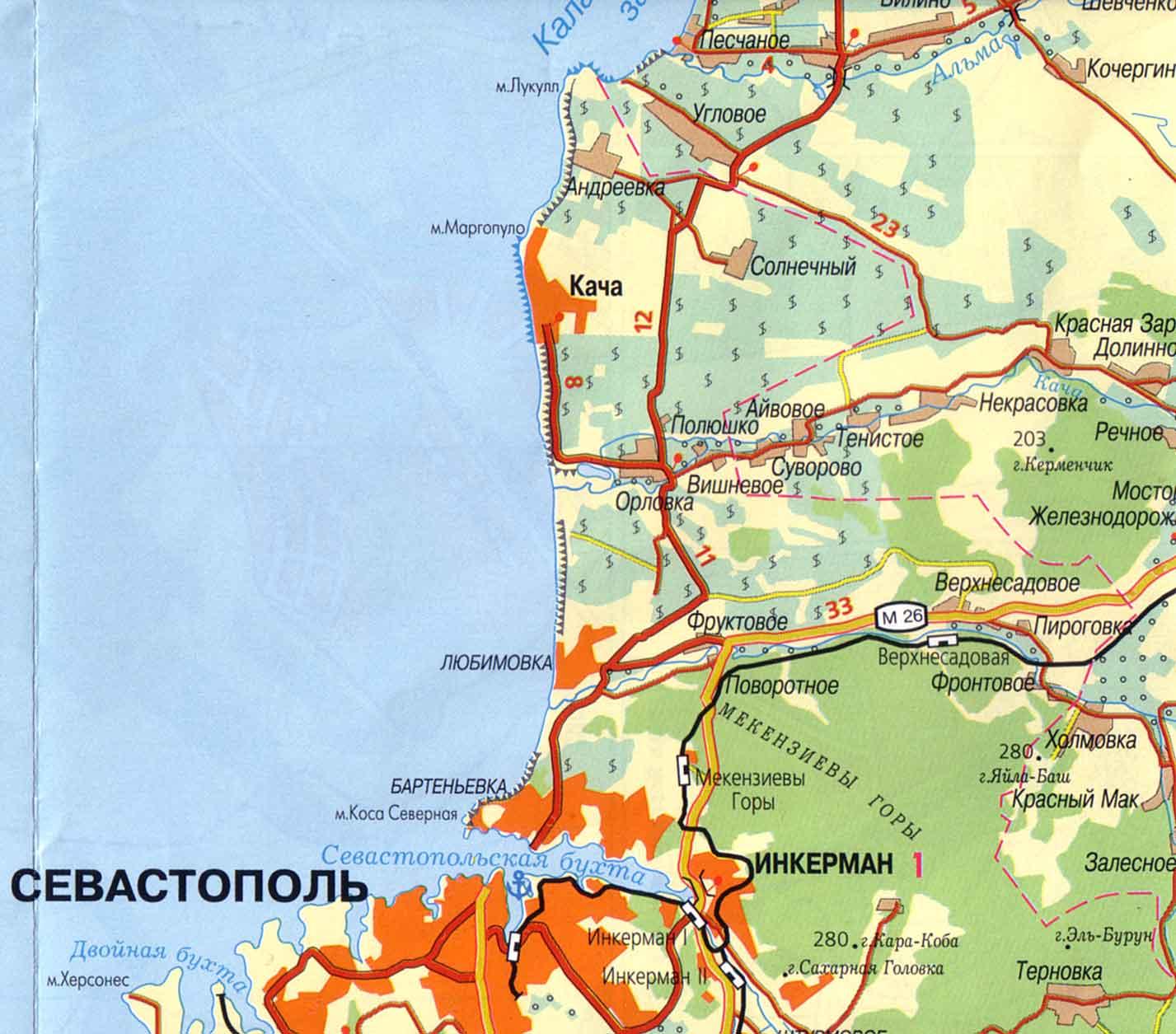 Топрографические карты Крыма.  Карта схема Крымского побережья.