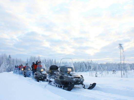 Карелия, снегоходы. Зимняя дорога через леса Карелии. Фото